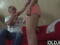 Sweet Teen Fucked By Old man She Swallows cum and deepthroats cock