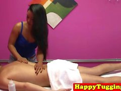 Asian masseuse jerks client infront of spycam