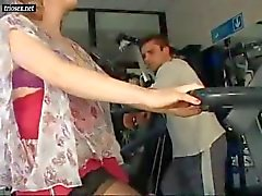 Cute preggo gets fucked in the gym