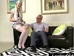 Blonde schoolgirl in stockings strips for older British guy