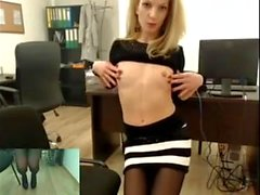 Blonde secretary shows at work.mp4