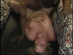 Amateur blonde MILF takes big black cock doggy style