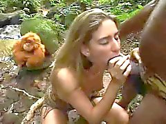 Lost Blonde finds a horny old savage in jungle