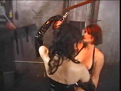 Two latex clad lesbians to the slave master thing with torture
