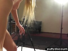 Petite blonde teases and pleases on her knees