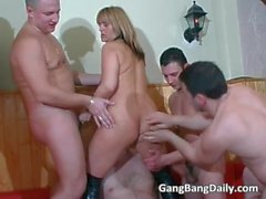France gang bang action with horny MILF