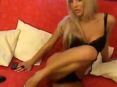 Hot blonde striptease and hand her wet pussy