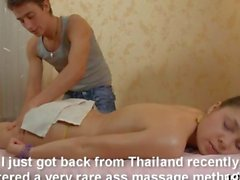 Mind blowing blowjob session on the massage table