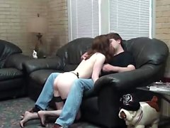 Tattooed girl gets fucked on the couch