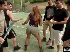 Horny chick got gang banged hard