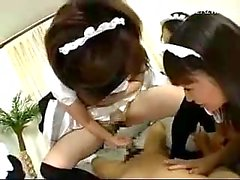4 Maids Getting Their Pussies Fucked Cum To Belly Tasting Cum On The Bed