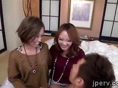 2 sexy Japanese models get fucked in a hardcore threesome