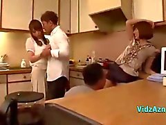 2 Asian Girls Sucking Cocks Fucked By 2 Guys In The Kitchen And In The Bedroo