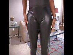 Ebony mom dressed in latex gets naked to suck and bang white dude