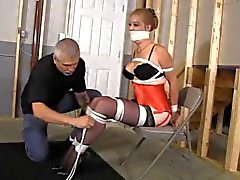 Krystina hogtied in basement