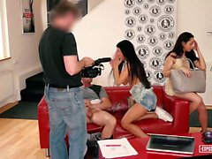 Exposed Casting - Beautiful Russian and Czech babes enjoy FFM threesome during casting