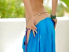cute blondie showing hot belly dancer