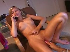 Teen Kasia - talking to mom while dildoing