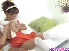 Ami Matsuda maid is pumped in hairy crack by joystick she