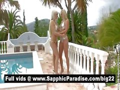 Naughty blonde lesbians kissing and licking nipples and having lesbian sex