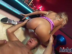 Amazing blonde striper has her pussy plowed