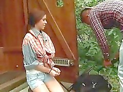 Cute beauty gets bondaged and fucked outdoor