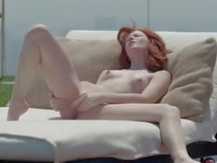 Beautiful redhead opening cunt outside