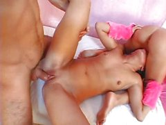Milena and her girlfriend in a threesome
