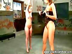 Worthless whore in nipple clamps and gets toy from her master