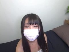 Fun time with japanese masked young student girl