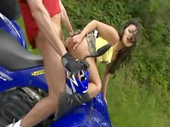 Sex on a four wheeler and sex hanging over a cliff, incredible!
