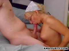 Blonde amateur ex-GF sucks and fucks with cum on tits