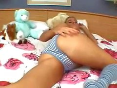 Masturbating in Blue Stripe Panties and Socks