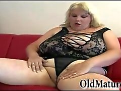 Very chubby granny masturbating
