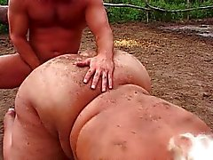 Massive blond pussy working out in the dirt