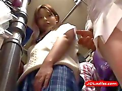 Office Lady Getting Her Nipples Sucked Pussy Fingered While Standing On The Bus