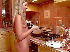 Cherry Jul cooking tottally naked