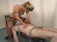 Mistress spreads cunt in slaves face then fucks him with her strap on