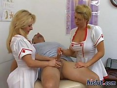 Kinky nurses choke on a stiff boner