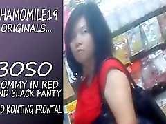 Boso Mom in Red dress black panty