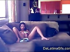 beautiful Latina teen got caught masturbating by spy cam