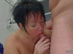 German Step-Mom Seduce Big Cock Young Boy to Fuck