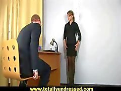 Sexy secretary gets interviewed with dildos