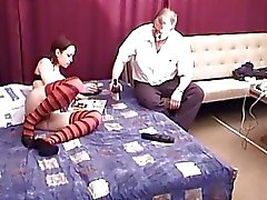 Young babe brunette has sex with uncle marty on his 60th bday