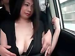 Big meloned Japanese amateur babe stripped for sex in a van