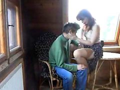 Mom fucks son in a camping cottage!