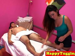 Busty asian masseuse cowgirling and tugging