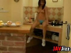 Japanese Slut Masturbating In The Kitchen