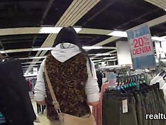 Beautiful czech cutie was tempted in the mall and fucked in