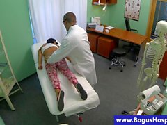Real sexy babe at doctors with hot ass getting fingered!